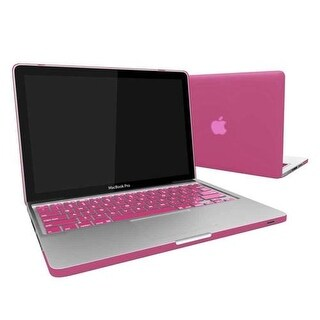Rubber Coated Hard Case Cover With Keyboard Skin for MacBook Air 13-Inch (Model : A1369 and A1466) - Baby PINK