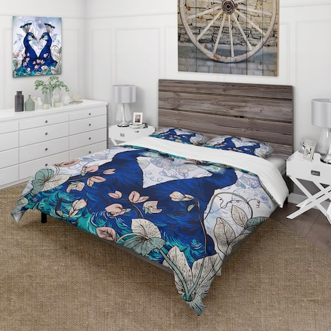 Designart 'Two Blue Peacocks With Wildflowers' Traditional Duvet Cover Set