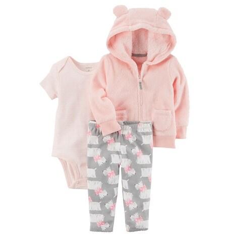 6a070a6e2d4d Shop Carter s Baby Girls  3-Piece Microfleece Jacket Set- Pink Puppy ...