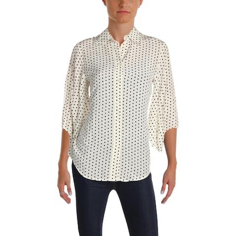 a337a670 Lauren Ralph Lauren Womens Aziura Button-Down Top Silk Polka Dot