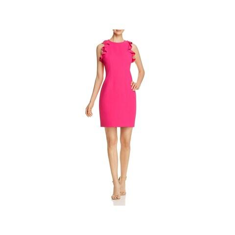 T Tahari Womens Tania Cocktail Dress Ruffle Sleeves Knee-Length