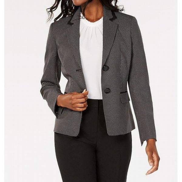 Le Suit Womens Blazers Black Size 4 Notched-Lapel Two-Button Printed. Opens flyout.