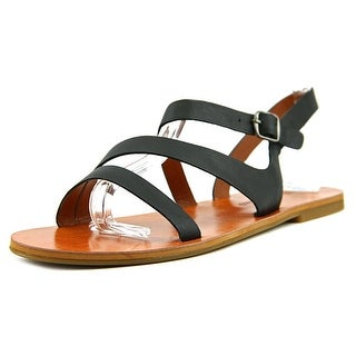Lucky Brand Alexcia Women Open-Toe Leather Black Slingback Sandal