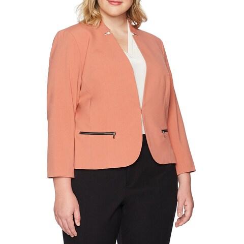 Nine West Orange Women 24W Plus Kiss-Front Zip-Pocket Blazer Jacket