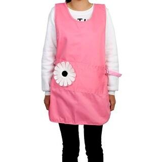 Household Kitchen Polyester Flower Decor Cooking Baking Apron Bib Dress Pink