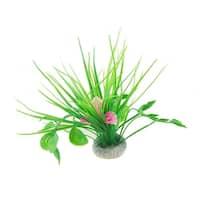Unique Bargains Unique Bargains Aquarium White Pink Plastic Flower Green Grass Plants w Ceramic Base