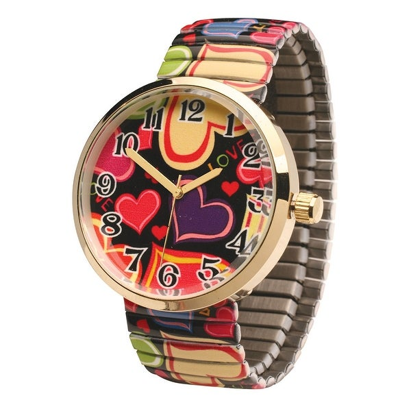 Women's Happy Hearts Gold And Black Watch