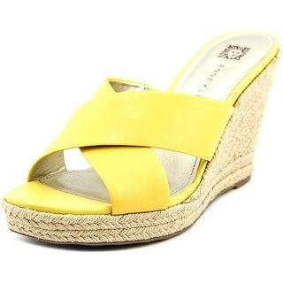 Anne Klein Waleigh Women Open Toe Leather Yellow Wedge Heel