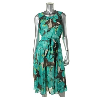 Jessica Howard Womens Petites Chiffon Printed Cocktail Dress