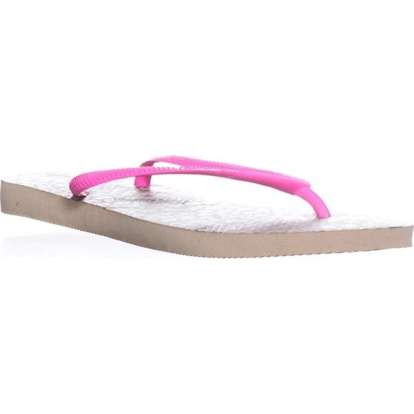Havaianas Slim Animals Classic Flip Flops, Sand Grey/Pink - 11 us / 43 eu