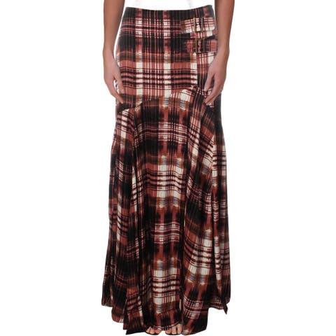 Free People Womens Season Of The Wind Maxi Skirt Satin Printed - Black - 4