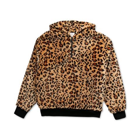 FairPlay Mens Hoodie Sweatshirt Animal Print - Brown - XL