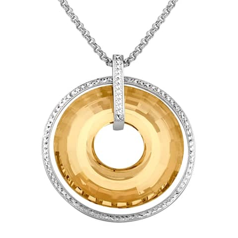 Crystaluxe Circle Pendant with Honey Swarovski Crystals in Sterling Silver - Yellow