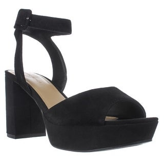 Marc Fisher Meliza Platform Ankle Strap Sandals, Black Suede