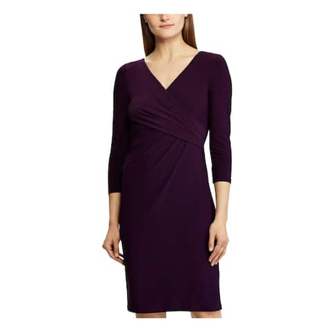 RALPH LAUREN Purple Long Sleeve Above The Knee Sheath Dress Size 0P