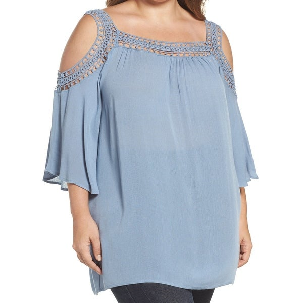 438edf0d51f94 Bobeau NEW Blue Women  x27 s Size 2X Plus Crochet Cold Shoulder Blouse