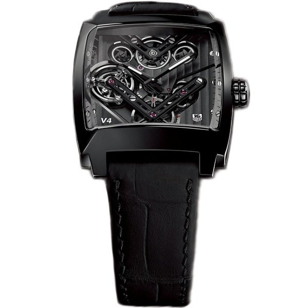 Tag Heuer Men's WAW2081.FC6348 'Monaco' Black Leather Watch. Opens flyout.