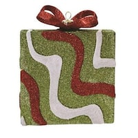 "5"" Merry & Bright Green  Red and White Glitter Swirl Shatterproof Gift Box Christmas Ornament"
