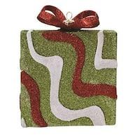 "5"" Merry & Bright Green  Red and White Glitter Swirl Shatterproof Gift Box Christmas Ornament"
