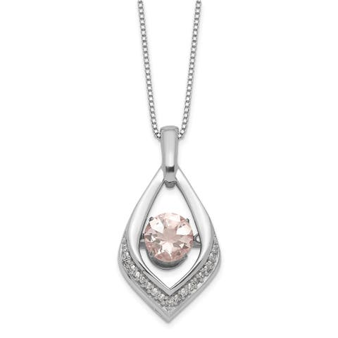 Sterling Silver Vibrant Morganite and Diamond Necklace by Versil