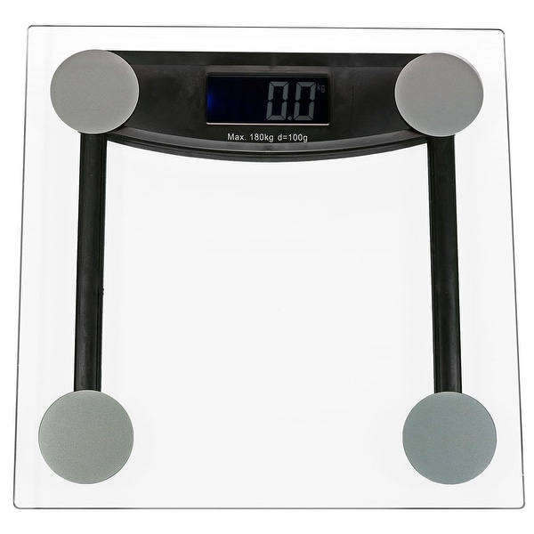 Sunnydaze Precision Clear Glass Bathroom Scale with Step-On Technology and LCD Display