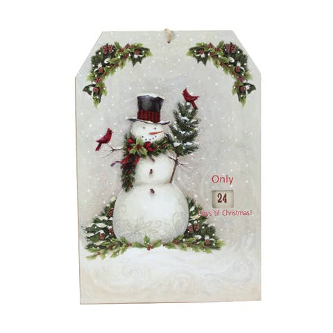 11.75 Hanging Snowman and Cardinal Advent Christmas Calendar - Off-White - N/A