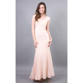 Lace Cap Sleeve V-Neck Gown