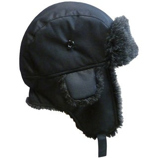 NICE CAPS Big And Little Boys Taslon Trapper Hat with Big Flaps - Black