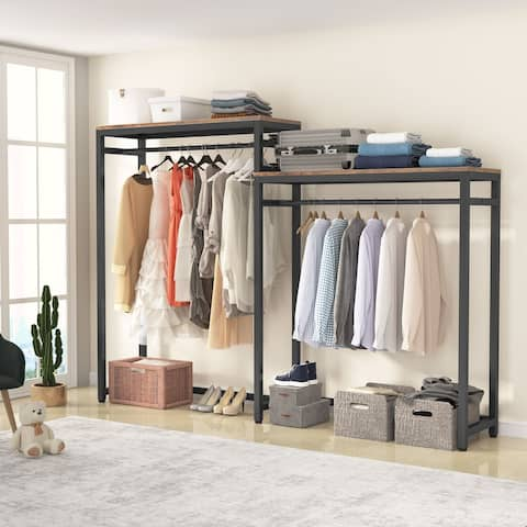 Tribesigns Free Standing Closet Organizer, Clothes Garment Racks with Storage Shelves and Double Hanging Rod