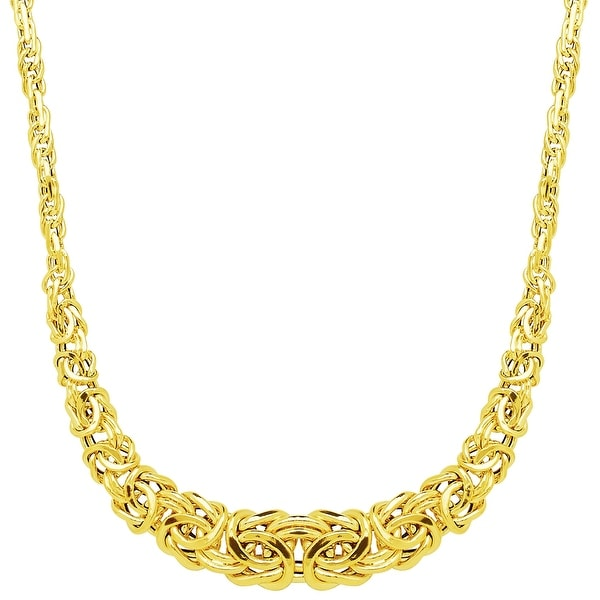 Eternity Gold Graduated Byzantine Links Necklace in 14K Gold - Yellow