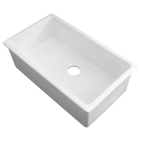 ZLINE Dual Mount Fireclay Sink in White Gloss (FRC5124-WH-30)