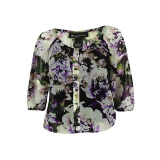 INC International Concepts Women's 2-PC Button Down Top - blossoming floral