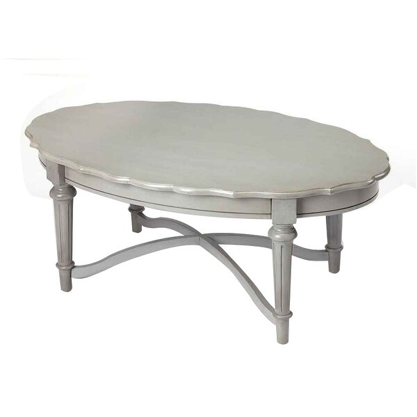 Grey Solid Wood Coffee Table: Shop Offex Kendrick Distressed Solid Mahogany Wood Gray