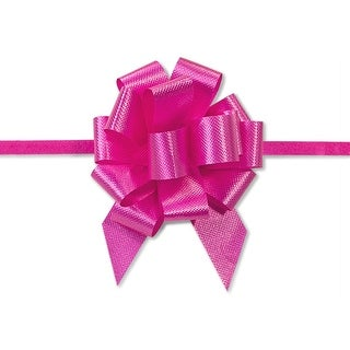 "Pack Of 50, 2.5"" Solid Beauty 100% Polypropylene Flora Satin Gift Pull Bows 14 Loops For Gift Baskets & Gift Packaging"