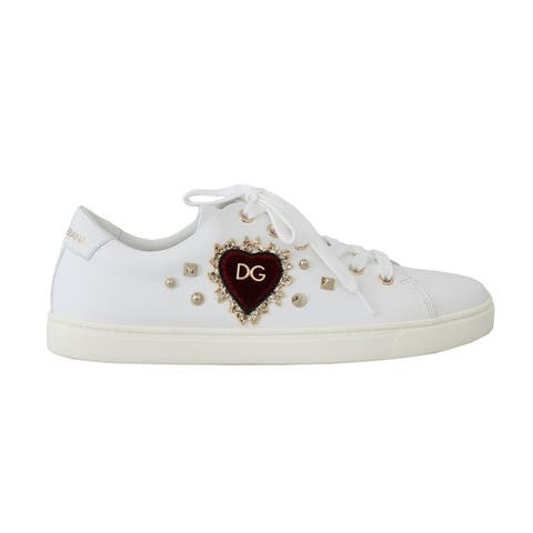 Dolce & Gabbana White Leather Gold Red Heart Women's Sneakers