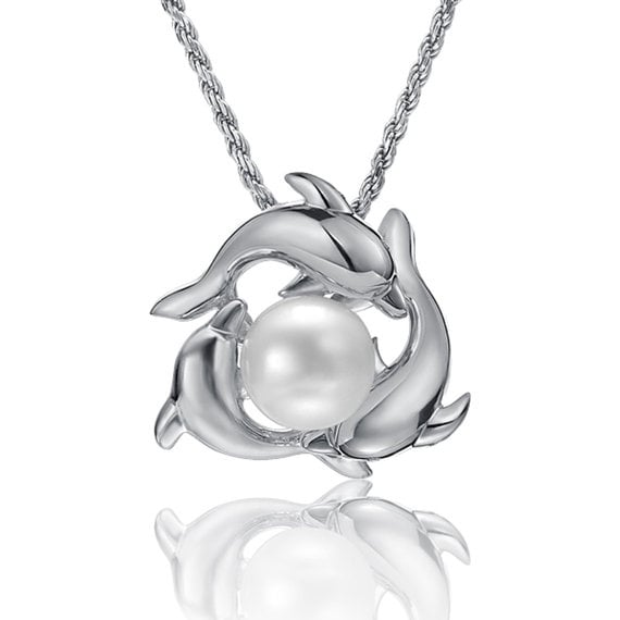 "Dolphin Circle Pearl Necklace Sterling Silver Pendant 18"" Chain"