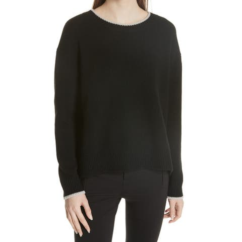Vince Womens Sweater Black Size Small S Crewneck Striped Pullover