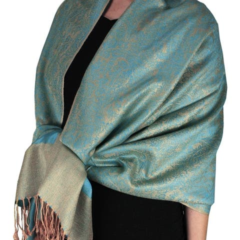 Peach Couture Elegant Vintage Two Color Jacquard Paisley Pashmina Shawl Wrap