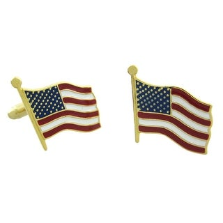 Gold Plated American Flag Cufflinks USA