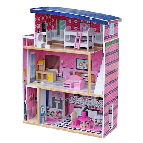 Sweet Wooden Pretend Play House Doll Dollhouse with Furniture