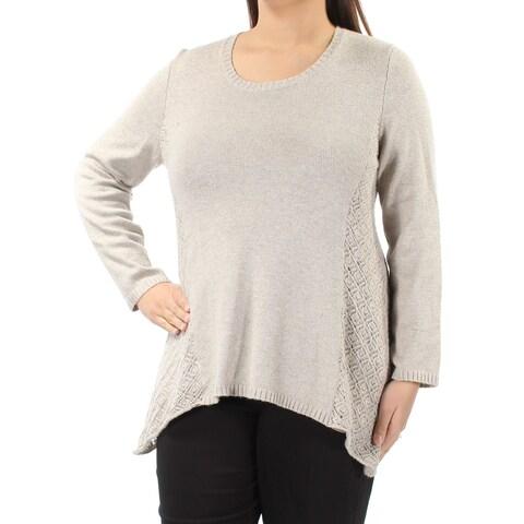 Womens Beige Long Sleeve Jewel Neck Casual Trapeze Sweater Size XL