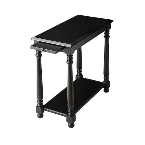 Devane Crafted Solid Wood Black Licorice Chairside Table
