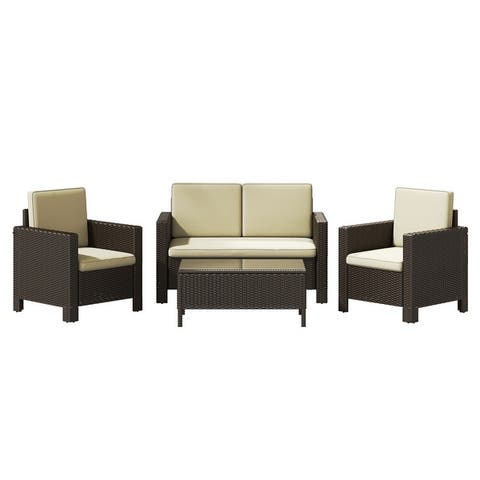 Corvus Azore 4-piece Outdoor Wicker Chat Set with Cushions