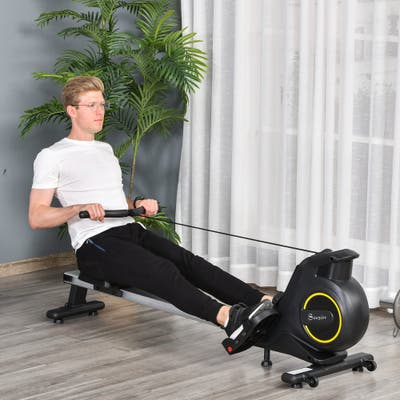 Soozier Indoor Body Health & Fitness Adjustable Magnetic Rowing Machine Rower with LCD Digital Monitor for Home, Office, Gym