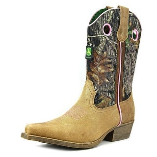 John Deere Crazy Horse Youth Pointed Toe Leather Tan Western Boot
