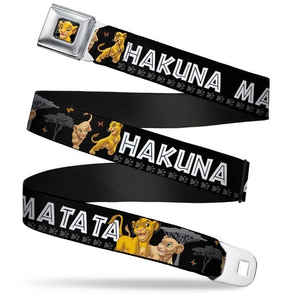 Simba2 Close Up Full Color Lion King Simba & Nala Hakuna Matata Webbing Seatbelt Belt