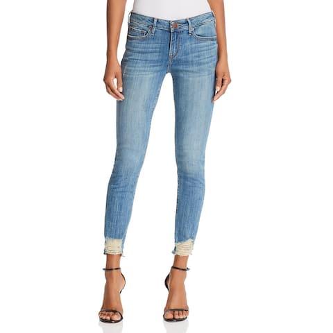 True Religion Womens Halle Skinny Jeans Raw Hem Distressed - Chewed Indigo - 24