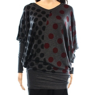 Go Couture NEW Gray Women's Size Small S V-Neck Polka-Dot Printed Sweater