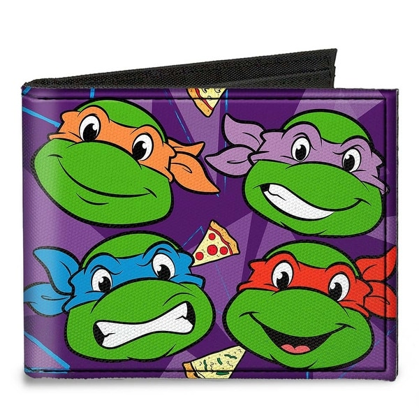 "Classic Tmnt Faces + I ""Pizza Heart"" Tmnt Purple Pizza Canvas Bi Fold Wallet One Size - One Size Fits most"