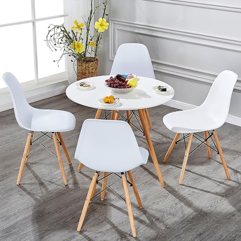 Home Kitchen Dining Chairs Wood Leg Side Chairs (Set of 4)